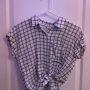 girl krazy trendy square-patterned button up tee